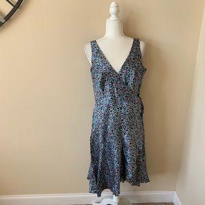 Shoshanna silk geo pattern crossfront dress #4550